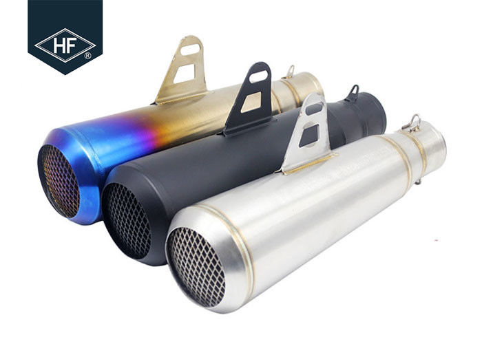 Slip On 45 Steel Custom Motorcycle Mufflers , Colored 51mm Motorcycle Muffler