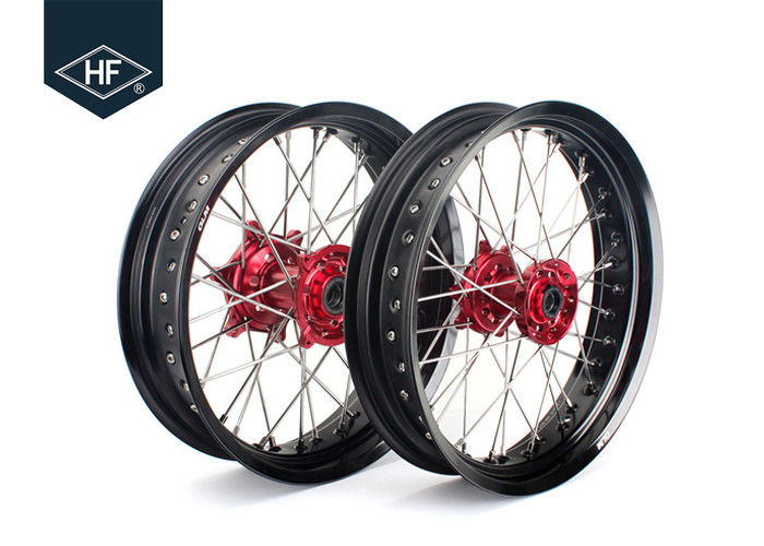 18 Inch CNC Aluminium Aftermarket Motorcycle Wheels ,  Black Motorcycle Rims With Hub