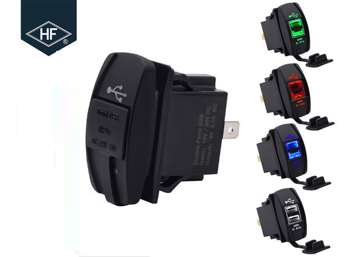 Double USB Socket Motorcycle Cell Phone Charger Corrosion Resistant With LED Light